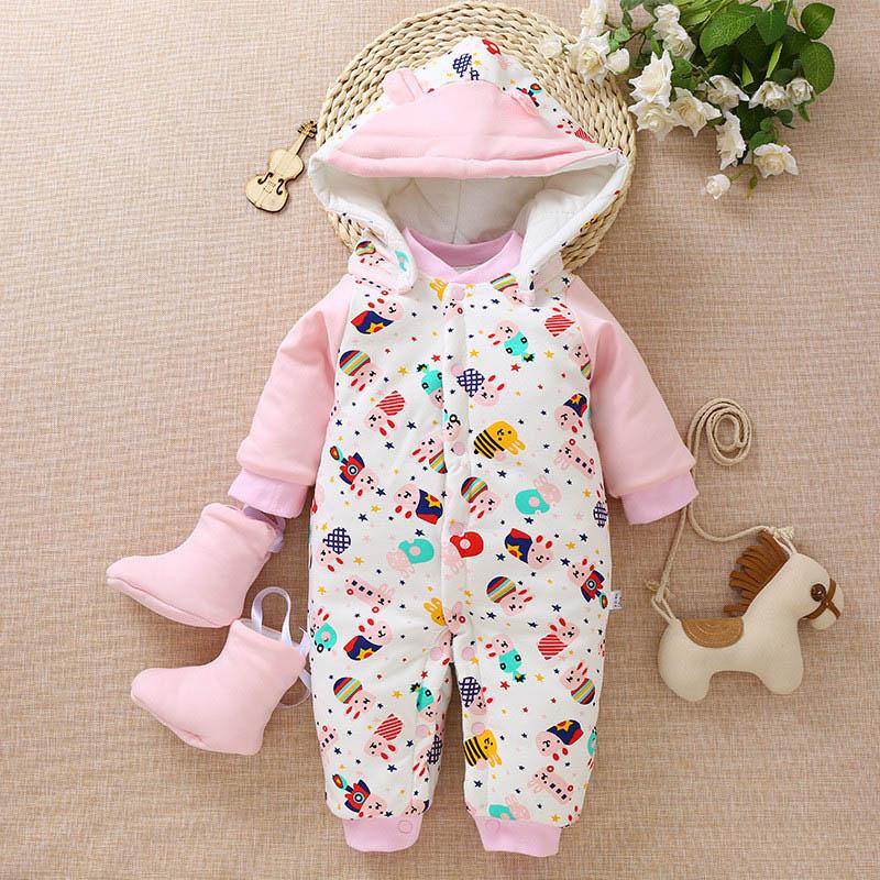ebdaf7d6caa6 2019 Newborn Romper Baby Boys Girls Winter Rompers Jumpsuit Clothes Toddler  Infant Hooded Cartoon Thick Warm Snowsuit From Fashionchildstore