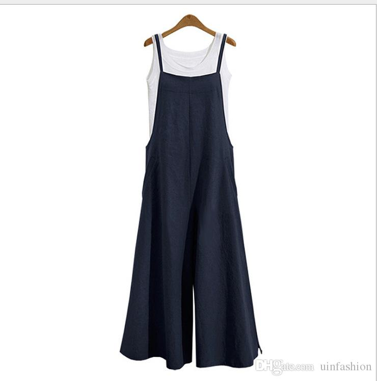 81cc113ac42 2019 Fashion New Women Overalls Rompers Plus Size Dungarees Long Trousers  Wide Leg Pants Cotton Linen Jumpsuits Casual Playsuits From Uinfashion