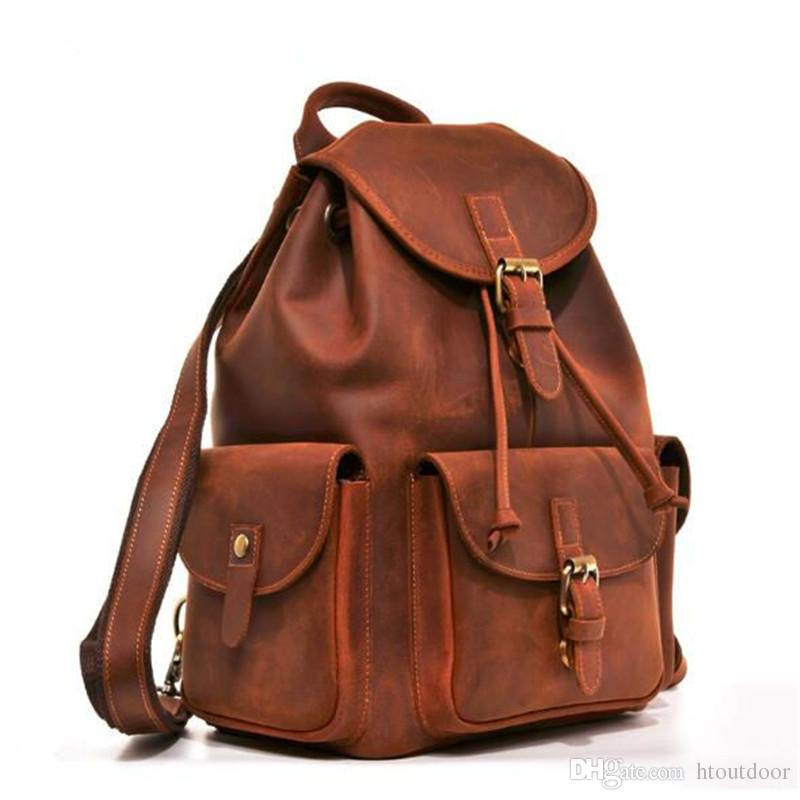 2019 Vintage Full Grain Leather Backpack Rucksack Duffel Bag Overnight  Travel Duffle Outdoor Weekender Bag Hand Made Business School Bag From  Htoutdoor 291c8aeb5e4a0