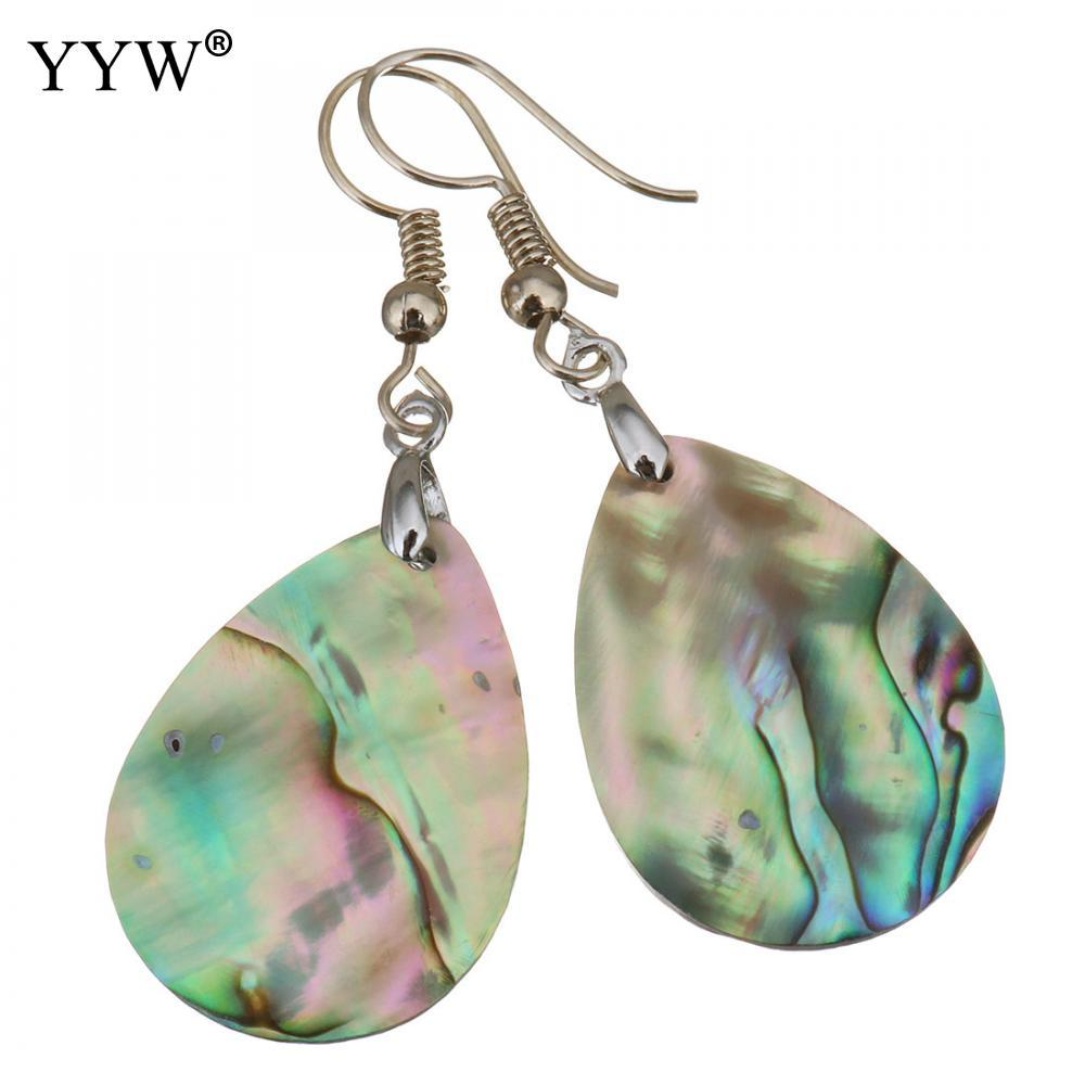 5e15308d8 2019 Shell Dangle Earrings Brass With Abalone Shell Teardrop Silver Color  Plated For Woman 48mm Sold By Pair From Linyicity, $34.94   DHgate.Com