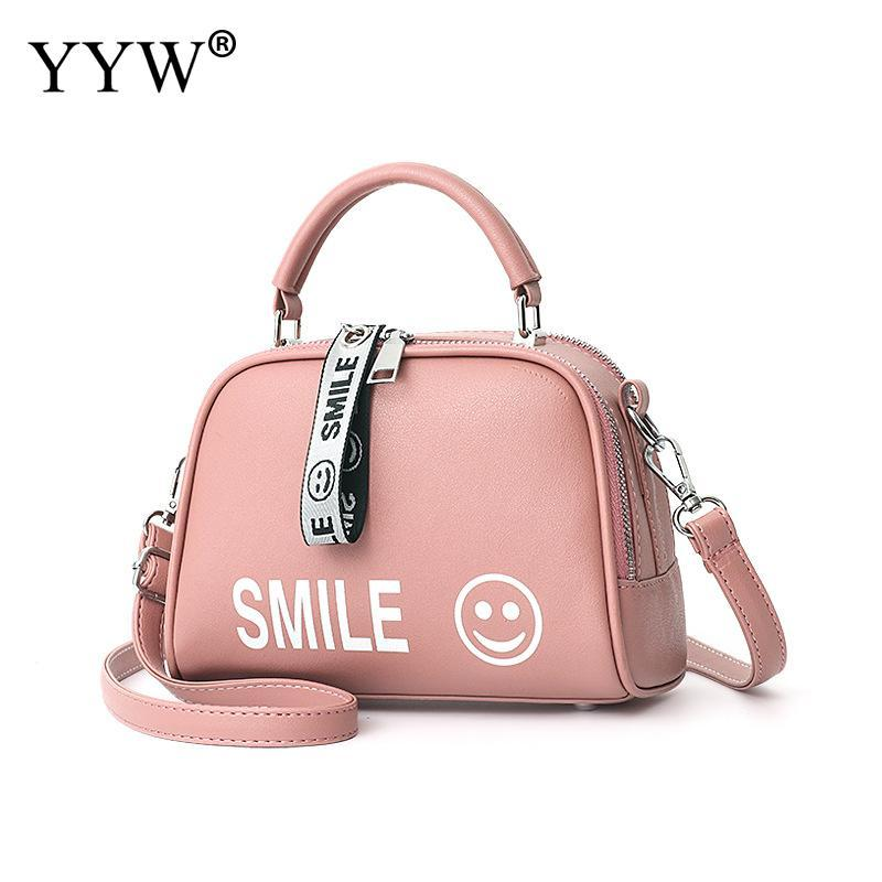 6e4433acb9 Pink Leather Handbag For Women 2018 Jewelry Smile Face Top Handle Hand Bags  Pu Portable Ladies Large Capacity Shoulder Bag Totes Red Clutch Fashion  Handbags ...