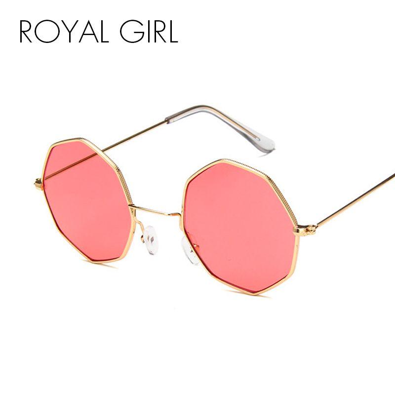 Compre MENINA REAL Octogonal Do Vintage Rodada Óculos De Sol Mulheres 2018  Steampunk Pequeno Metal Frame Amarelo Vermelho Óculos De Sol Para Homens  Oculos ... c3751c8a4e