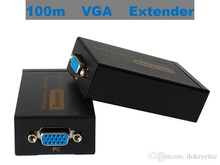 100m VGA Extender With Audio Cat5e 6 568B Network Cable Sender Receiver Adapter High Definition 1920x1440 For HDTV Porjector Monitor