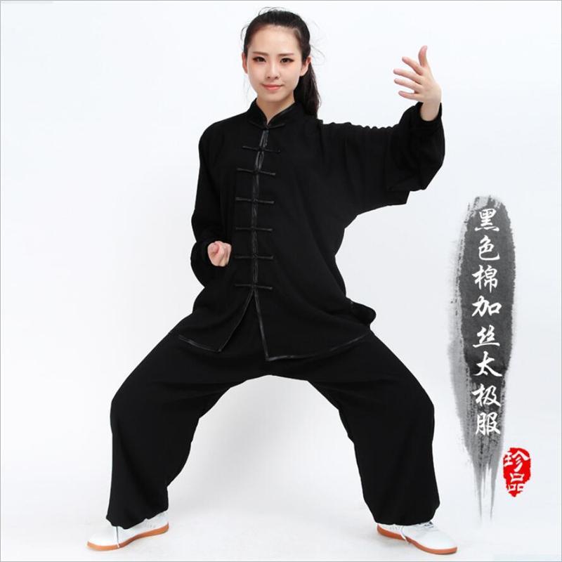 Tai chi clothing women and men chinese taiji wudang kung fu suit cotton  silk shaolin uniform kungfu set wu shu breathable