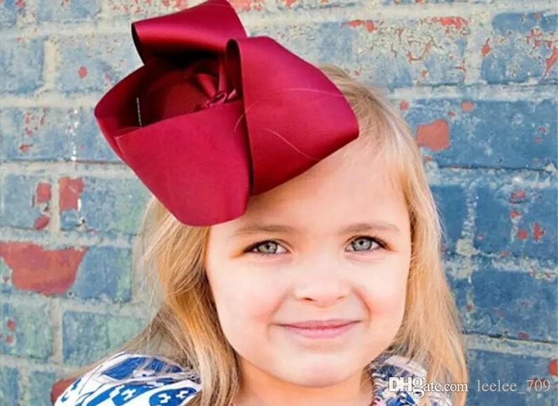 Bebek 8 İnç Geniş Grogren Şerit Bow Firkete Klipler Kızlar Büyük ilmek Barrette Çocuk Saç Butik Yaylar Çocuk Saç Aksesuarları KFJ13
