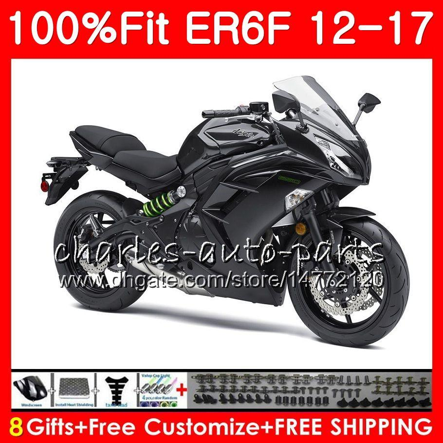 Injection For KAWASAKI NINJA 650R ER-6F Glossy black 2012 2013 2014 2015 2016 2017 113HM.33 Ninja650R ER 6F ER6F 12 13 14 15 16 17 Fairing