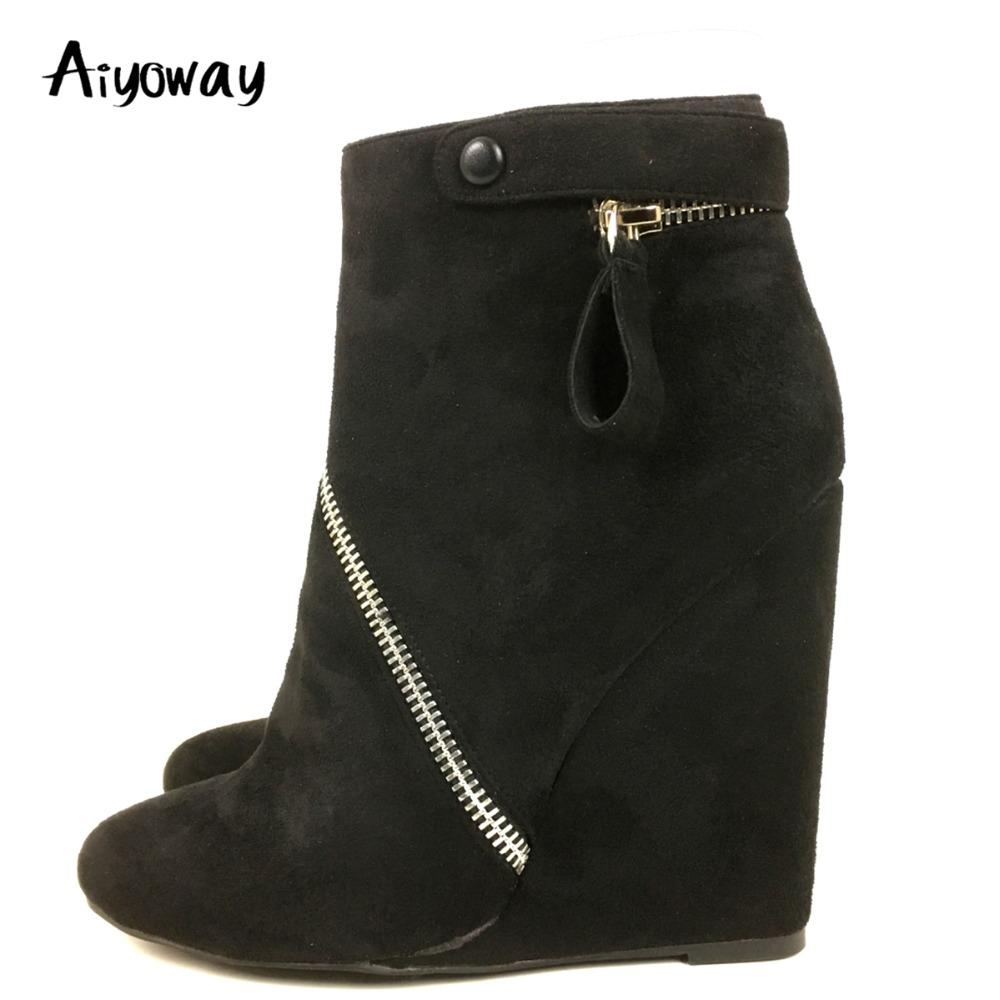 Aiyoway Fashion Women Ladies Round Toe Wedge Heel Ankle Boots Autumn Winter  Party Dress Booties Black Ankle Button Side Zip Work Boots Knee High Boots  From ... 16ce155b06