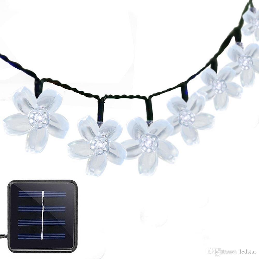 Solar Power Fairy String Lights 7M 50 LED Peach Blossom Decorative Garden Lawn Patio Christmas Trees Wedding Party