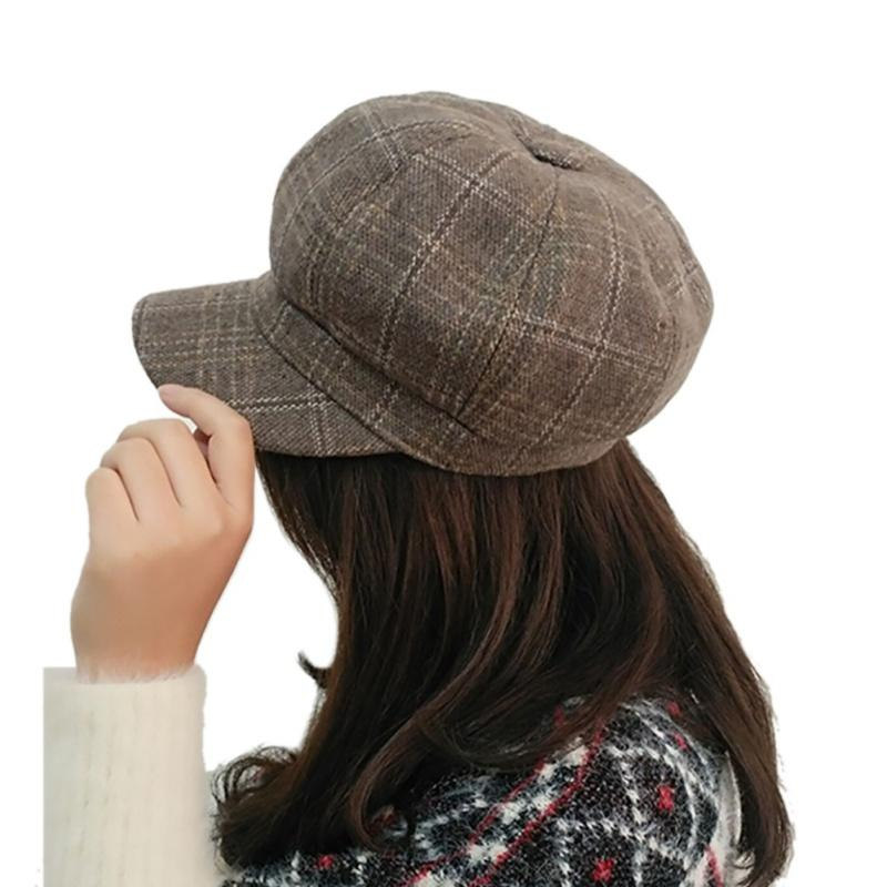 Tennis British Style Hat Beret 2018 New Octagonal Beret Cool Stuff Cap 6 Plaid For Women Baseball Tennis Awning Female Hats Vintage