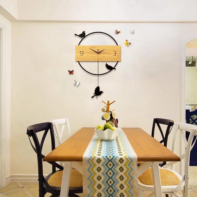 Großhandel 3d Big Swing Wanduhr Modernes Design Wohnzimmer Massivholz Wand  Uhren Dekorative Nicht Ticking Vogel Uhr Kunst Wohnkultur Von Dracaenor, ...