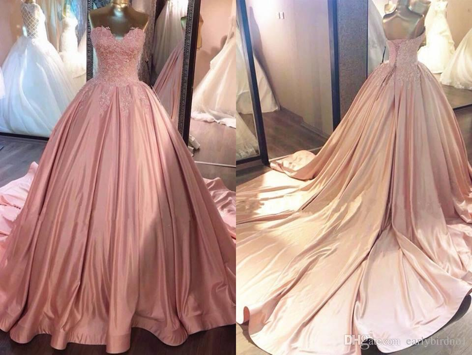 2018 Pink Sweetheart Exquisite Sleeveless Evening Dresses Lace-Applique Ball Gown Prom Dresses Long Cheap Lace Up Back Quinceanera Dresses