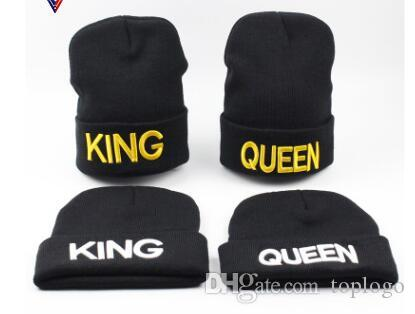 dce7baa3954e King Queen Beanie Men Women Stocking Hat Beanies Skullies Winter Hats Cap  Knitted Hiphop Hat Female Couple Warm Winter Cap BLACK Watch Cap Fitted Caps  From ...