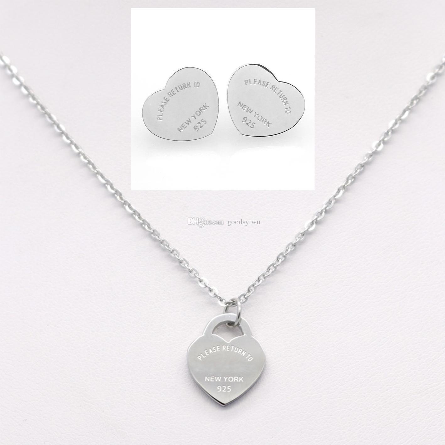 Luxury T Brand Silver Stainless Steel Heart Love Earrings Necklace Jewelry Set Women Letters New York Earrings Necklaces Wedding Jewelry