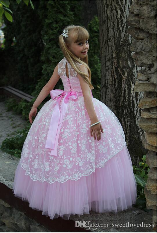 Cute Scoop Lace Ball Gown Girls Pageant Dresses For Little Girl Bow Floor Length Flower Girls Dresses Prom birthday Dresses