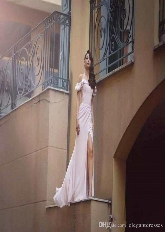 2021 Sweetheart Pink Off Shoulder Mermaid Prom Dresses Elegant Short Sleeves Side Split Red Carpet Dress Sweep Train Evening Occasion Gowns