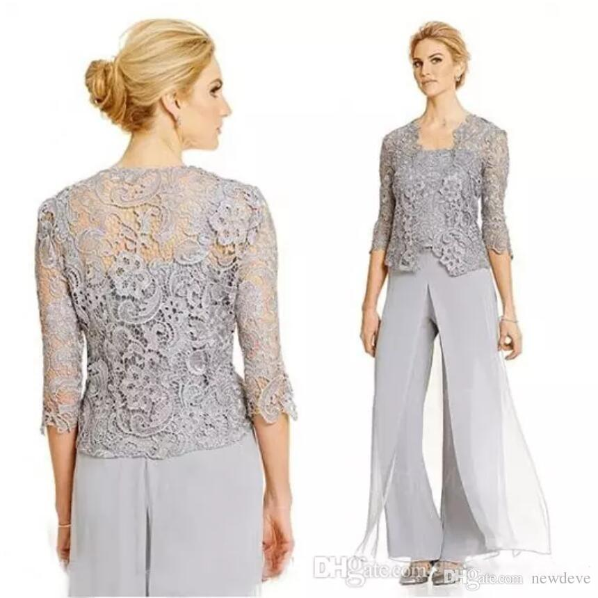 f8827baf76a 2018 Popular Mother Of The Bride Dress Pant Suits Silver Customized Spaghetti  Straps Top Long Pants Sheer Lace Jacket With Sleeves Jade Mother Of The  Bride ...