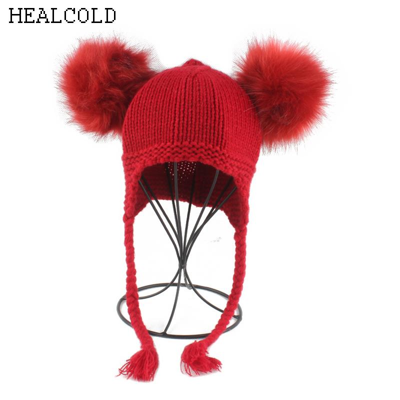Ponytail Beanie Hat for Kids Girls Boys Winter Fur Pompoms Hats Baby Caps  with Ears Children Wool Knitted Beanies Skullies   Beanies Cheap Skullies  ... ca81a3045ae4