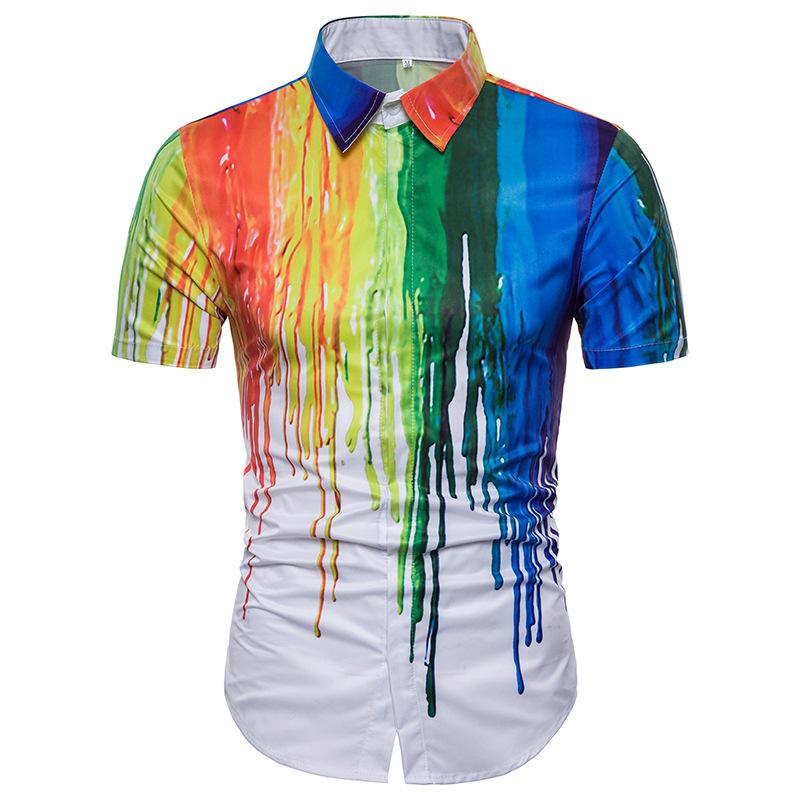 d5a9ee8198f6 2018 Summer New Personality 3D Ink Design Short Sleeve Lapel Shirt Male  Mens Shirts Casual Slim Fit Online with  26.35 Piece on Lain90 s Store