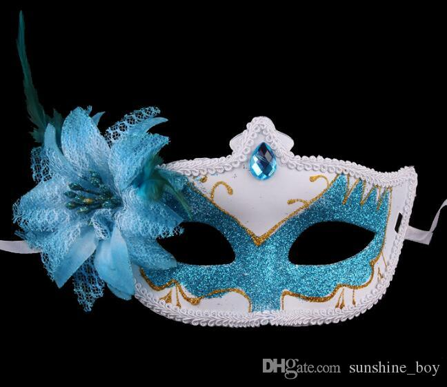 lace Shining crystal Venice Lateral flowers Feather party mask Halloween Mask female half face sexy lovely child masks Party Princess adult