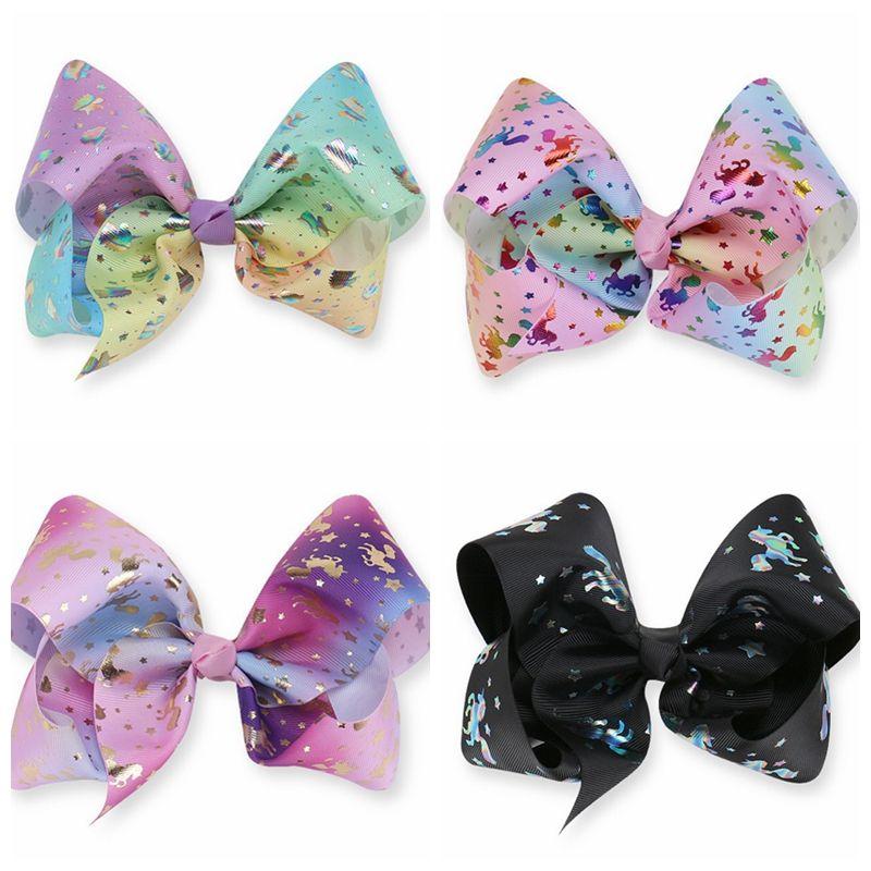 "JoJo Siwa inspired Large 8"" hair bow Unicorn Jojo Bows Holographic Unicornio Arcos de pelo Unicorn hair bow clips"