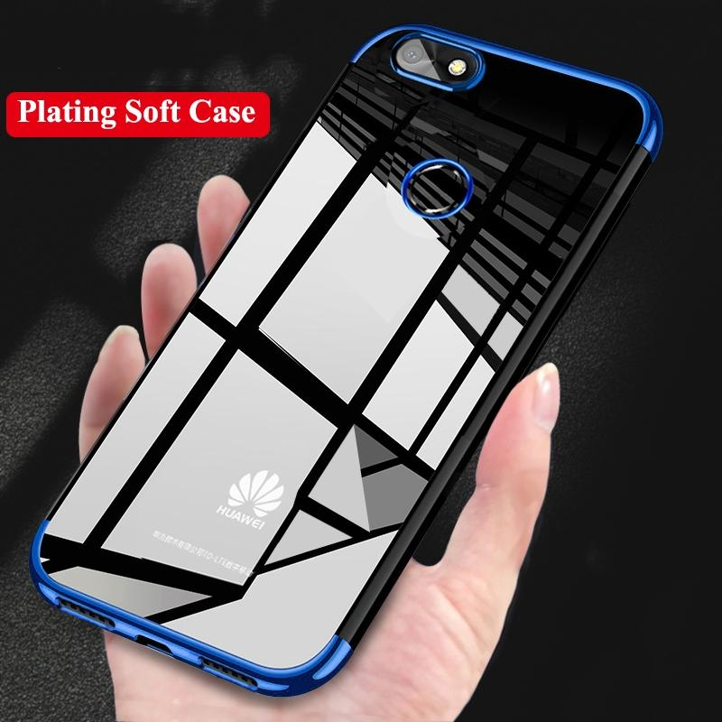 promo code 421ec ec08b Fashion Phone Cases For Huawei P Smart Case Luxury Laser Plating  Transparent Soft Clear Back Cover
