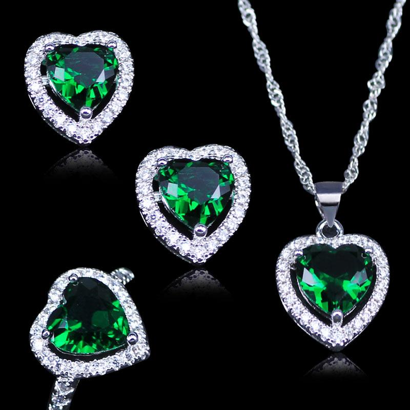 L&B Russian Heart Green Created Emerald White Zircon 925 Stamp Silver Color Jewelry Sets Pendant earrings Rings Necklace