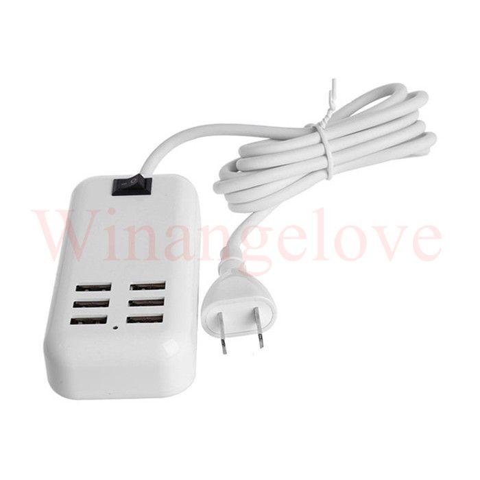 6 Porte USB Hub portatile Desktop EU / US / UK Plug Caricatore da parete Presa adattatore di corrente CA Presa di prolunga la ricarica Presa con cavo