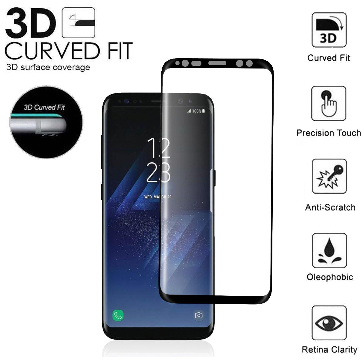 low cost d05a3 2e9a2 For Samsung Galaxy S9 S8 Plus Case Friendly Real Tempered Glass Screen  Protector 3d Curved Case Version