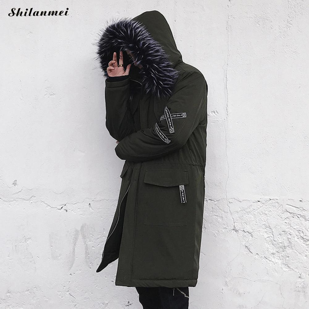 bec93544586d0 2017 Winter Jacket Men Street Hip Hop Fur Hooded Parka Coat Thick Warm Black  Army Green Military Long Down Parka Male Outerwear