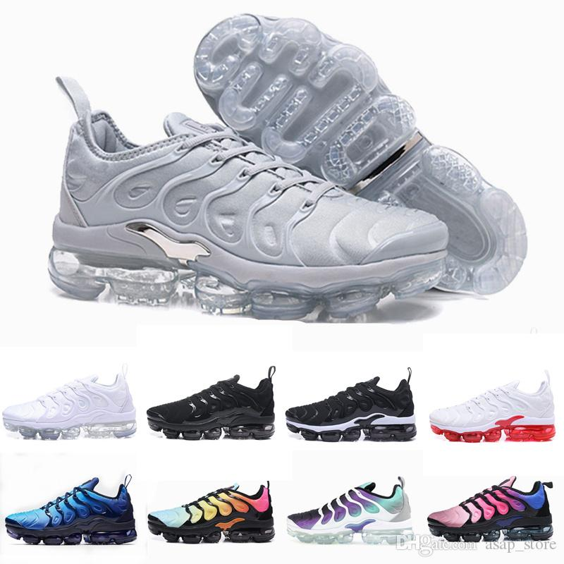 5a68692c9f1e8 2018 Chaussures New Colors Tn Plus Olive Mens Womens Sports Running Shoes  Women Sneakers Metallic White Silver Triple Black 40 46 Running Store Sports  ...