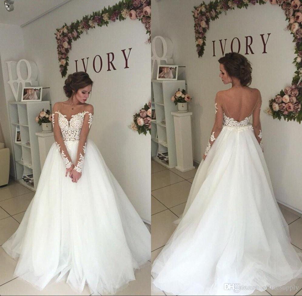 09e0c714893 Discount Wedding Dresses Mermaid Long Sleeves Illusion Boat Neck A Line Bride  Gowns Backless Sexy Lace Bridal Dresses Modest Wedding Dress Online Shop ...
