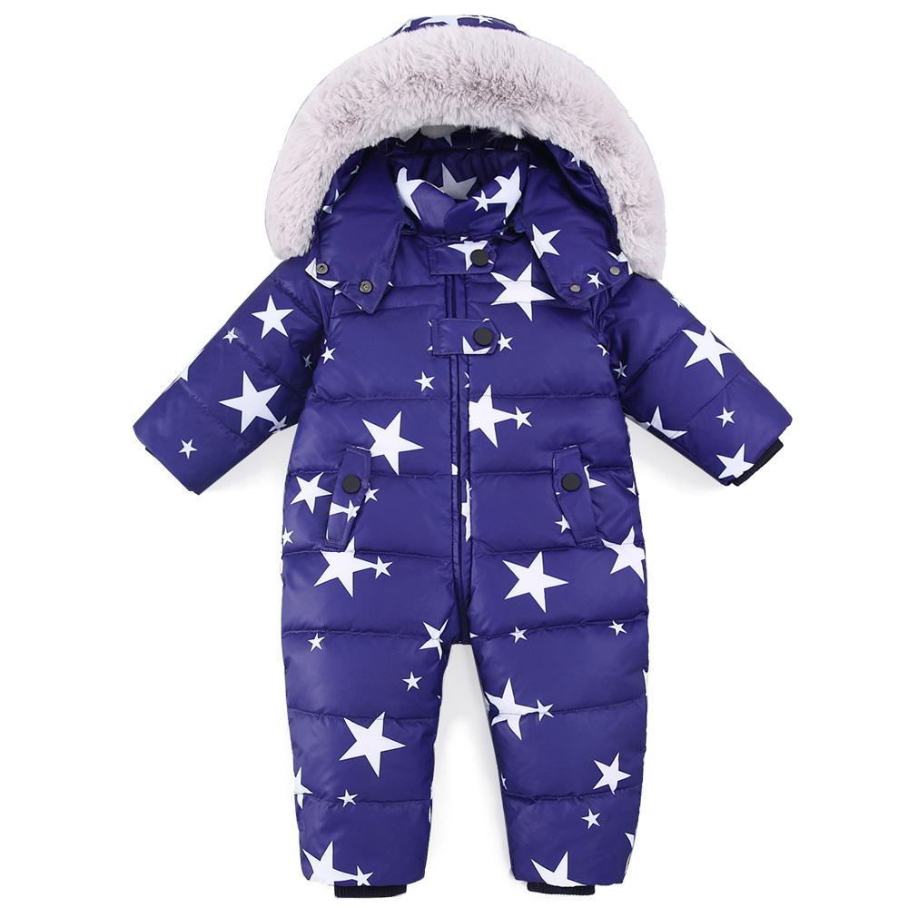 be110fec2 Russian Winter Baby Snowsuit Boy Girl Jumpsuit Kids 90% Duck Down Rompers  Jacket for Girls Boys Coats Winter Park Infant Overal