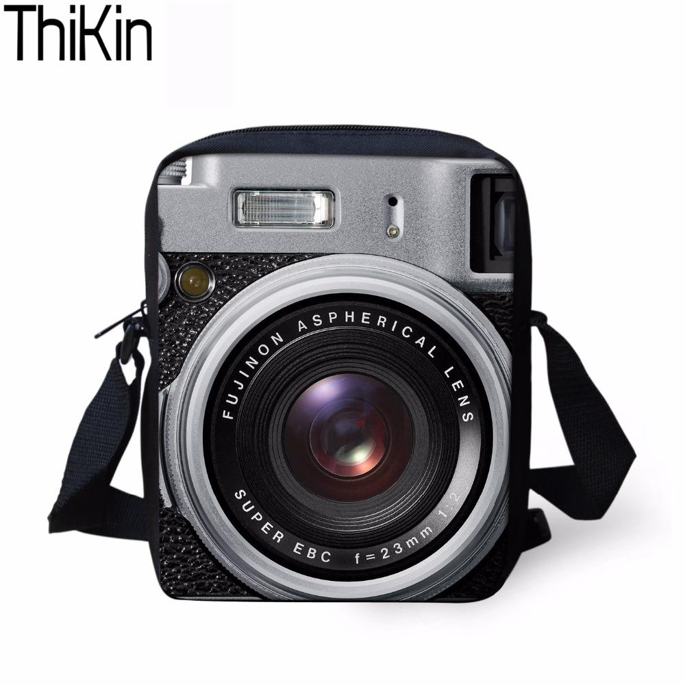 THIKIN 3D Camera Printing Men Crossbody Bags Women Light Handbags Teens  Cool Small Shoulder Bag Crossbody Messenger Bag Hot