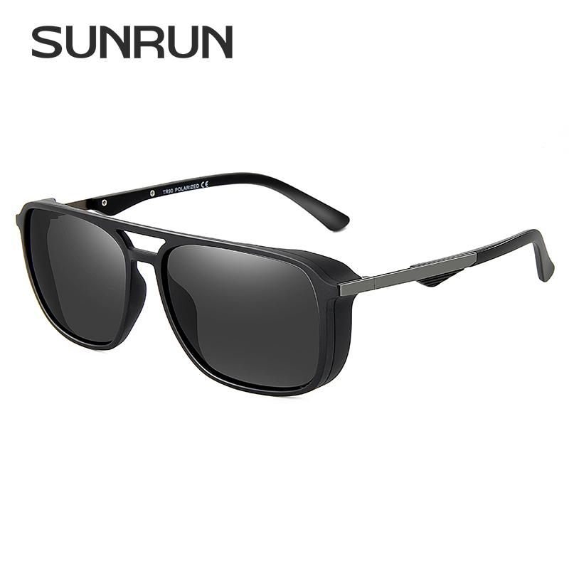 d753f65fc3 SUNRUN Fashion Square Polarized Sunglasses Men Brand Designer Steam Punk  TR90 Frame Sun Glasses Vintage Driving Glasses 18031 Bifocal Sunglasses  Retro ...