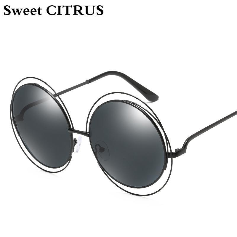 e18c6914656d Sweet CITRUS Oversized Round Sunglasses Women Brand Designer Vintage Metal Sun  Glasses Female High Quality Ladies Mirror Shades Eyewear Designer Sunglasses  ...