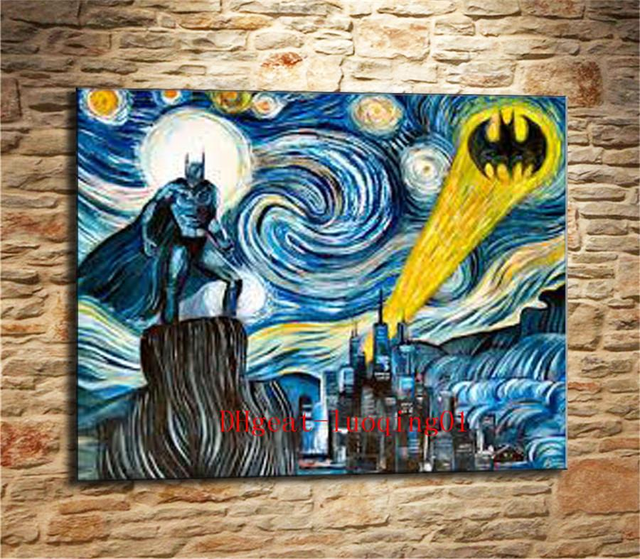 Van Gogh Batman , Canvas Pieces Home Decor HD Printed Modern Art Painting on Canvas (Unframed/Framed)