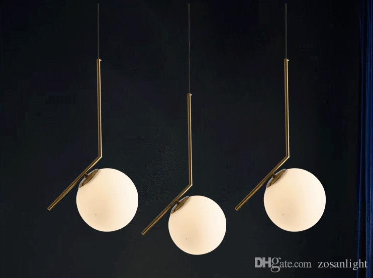 2018 modern design pendant lamp metal white ball bar lamps e14 glass