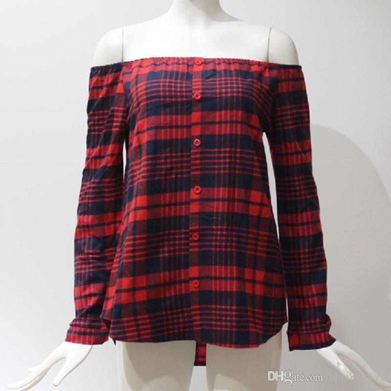 Printemps Femmes Plaid T-shirt Col Caché À Manches Longues Seul Sein Pullover Femmes Grille Imprimé De Blouse À Épaule