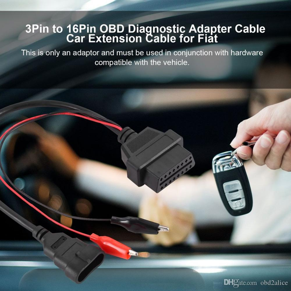 3Pin to 16Pin OBD Diagnostic Tool 12V plastic Adapter Cable Plug Connector Car Extension Cable for Fiat for Alfa for Lancia 12V