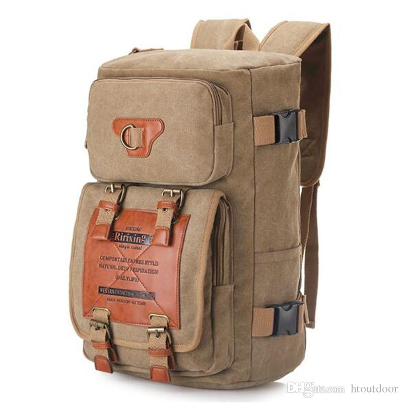 2019 Men Women Vintage Canvas Backpack Rucksack School Satchel Carry Bag  Outdoor Travel Hiking Camping Daypack Totes Bag From Htoutdoor 7aea0340c8206