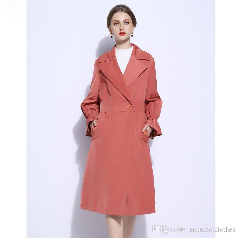 a13e82a28a Trench lungo cappotto moda Orange colore per le donne con cintura Vita  Autunno moda spolverino Duster Coat Plus Size