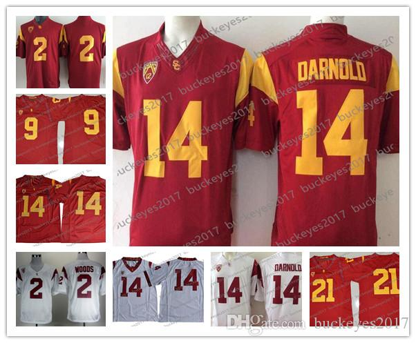 2018 NCAA USC Trojans  14 Sam Darnold Stitched White Green No Name ... 71364c92a