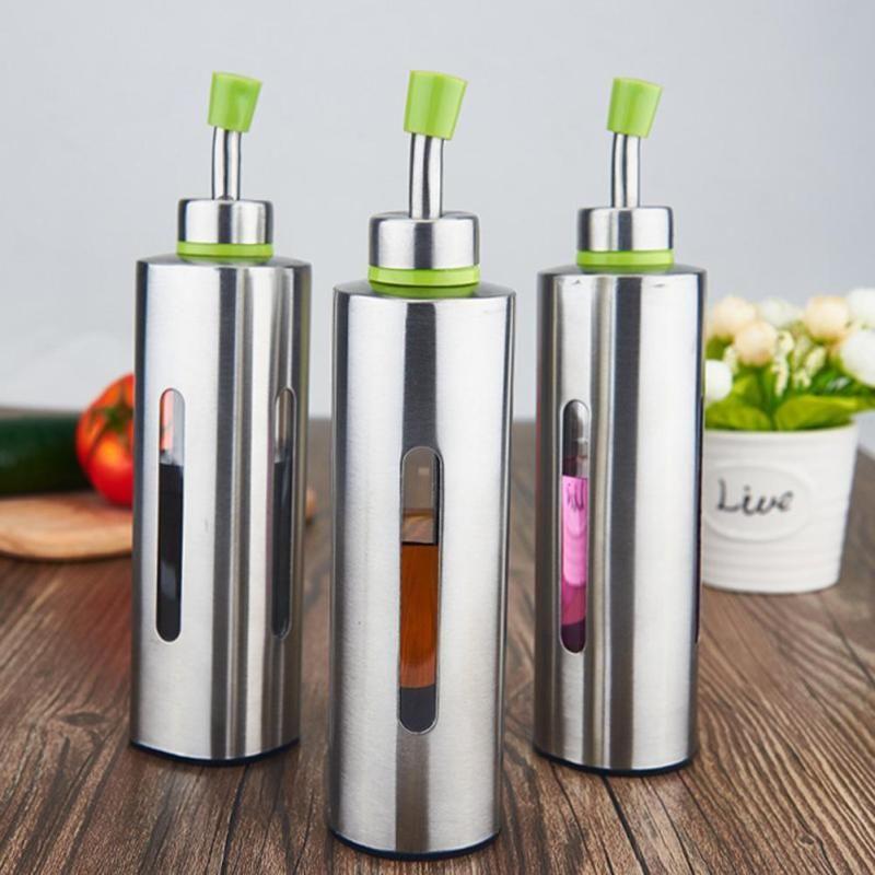250ml Kitchenware Stainless Steel olive Oil Bottles Seasoning Oil Container  Storage Bottle Sauce Vinegar Pot Leak-proof A20