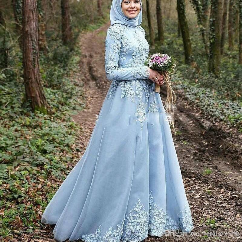 Saudi Arabic A Line Muslim Wedding Dresses with Appliques Long Sleeves Hijab Kaftan Dubai Wedding Gowns Bridal Gowns 2018