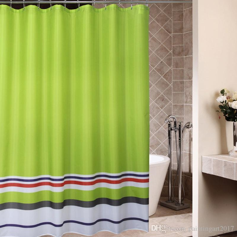 2018 Hot 3D Print Shower Curtains European Classic Green Waterproof Mildew Bathroom Curtain With Stripes From Paintingart2017