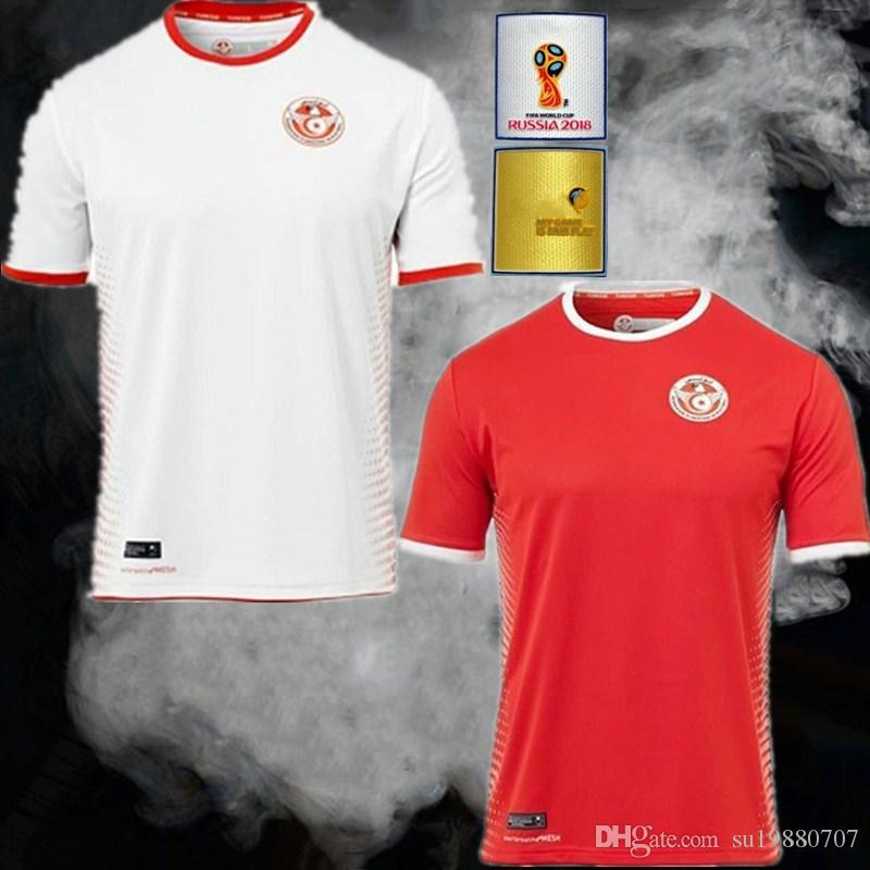 Discount 2018 World Cup Tunisia Socce Jerseys 1819 Tunisia National  Football Team Home Red Away White Msakni #7 Khazri #10 Sliti #23 Football  Shirt From ...