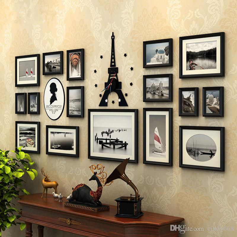 bfba9815c6f2 2019 Picture Frames Wooden Photo Frame Set With Acrylic Tower Clock ...