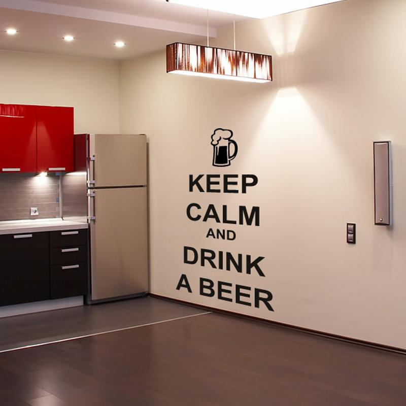 Kitchen character wall sticker keep calm and drink a beer wall decals vinyl removable living room decor stickers childrens wall stickers for bedrooms circle