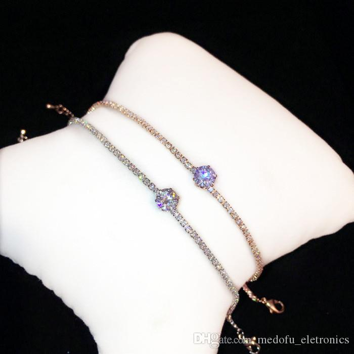 Simple Cube Sparky Crystal Pendant Bracelet Silver Gold Girl Jewelry For Party