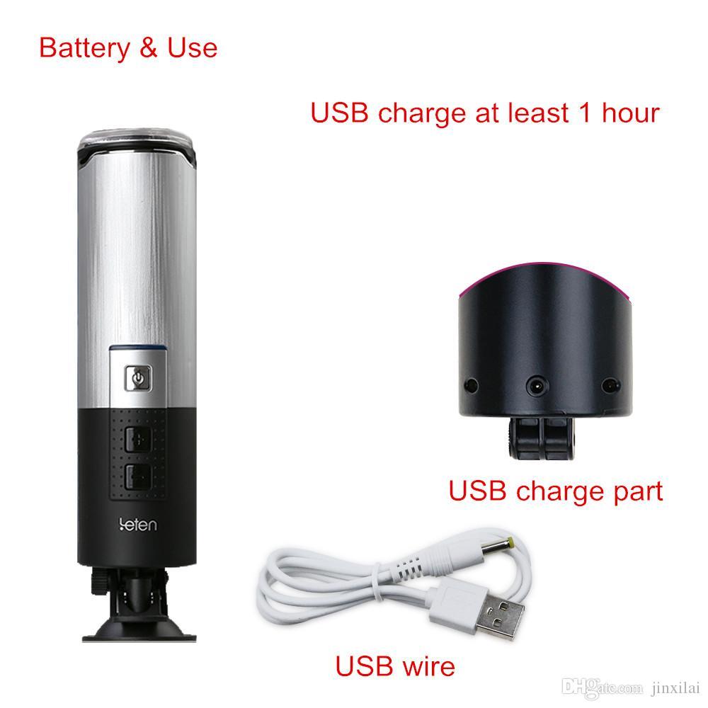 LETEN Kolben USB aufgeladen 0-380 / Minute Super schnelle versenkbare vollautomatische männliche Masturbator, Sex Maschine Hände frei Thrust Sex Toys für Mann